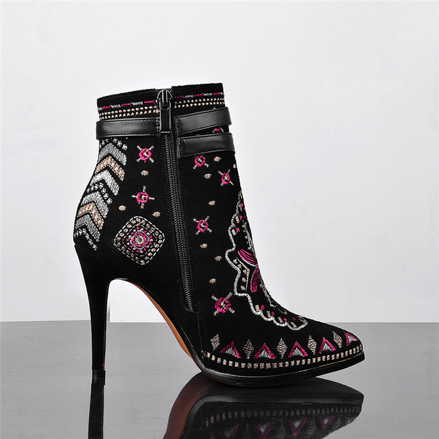 KARINLUNA Chinese Style Embroidery Cow Suede Leather Large Size 34-42 Women Autumn Winter Shoes Sexy High Heels Ankle Boots