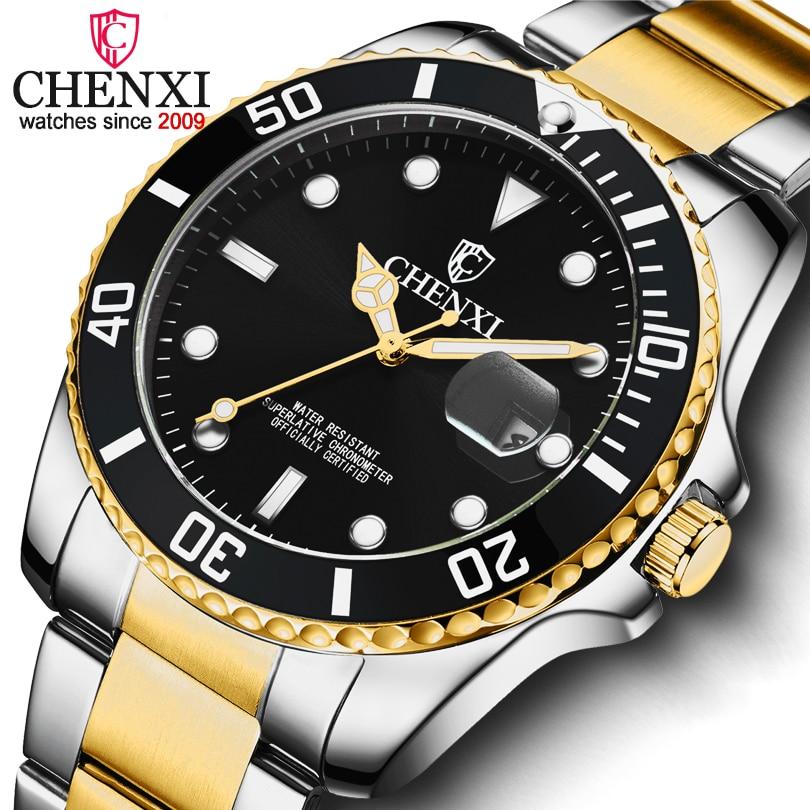 CHENXI Luxury Brand Men Watches Date Quartz Watch Men's Stainless Steel Waterproof Analogue Quartz-Wristwatches Montre Homme