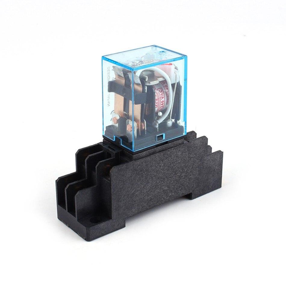 Подробнее о 1Pc AC 220V Coil Power Relay 8Pin 10A DPDT LY2NJ HH62P HHC68A-2Z w/ Socket Base free shipping ac 300v 10 amp ah2 n afr 1 power relay 8 pin socket holder base 8pfa