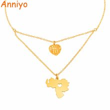 Anniyo Venezuela Map Pendant Necklaces for Women Girls Gold Color Jewelry Venezuelan Maps Patriotic Gift #142506(China)