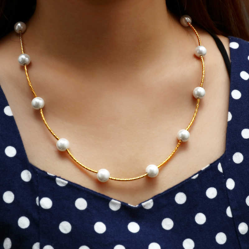 ZOSHI Fashion Women Chain Necklace Gold Pendant Necklace For Women Pearl Jewelry Hot Chocker Collar Pearl Necklaces Women