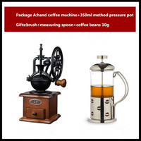 Retro large wheel manual grinder hand coffee bean grinder household mill coffee machine portable coffee machine coffee maker