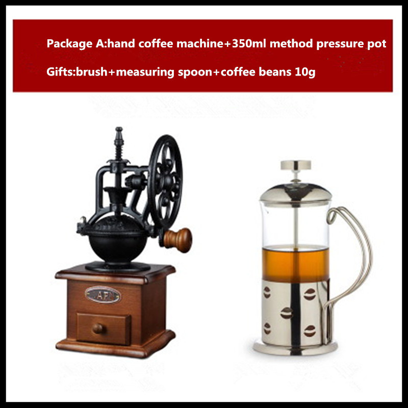 Retro large wheel manual grinder hand coffee bean household mill machine portable maker