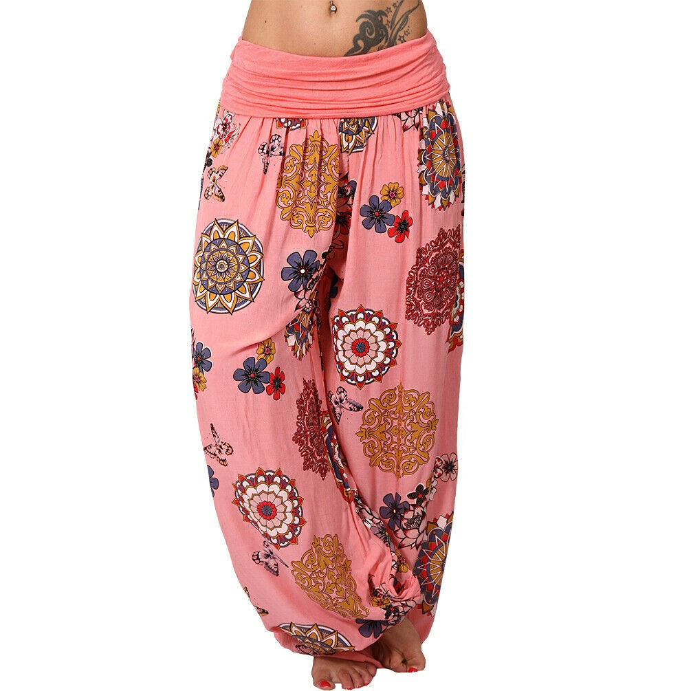 2019 Summer Women Casual Loose   Pants   Print Boho High Waist Printed   Pants     Capris   Femme Ladies Baggy Beach Trousers
