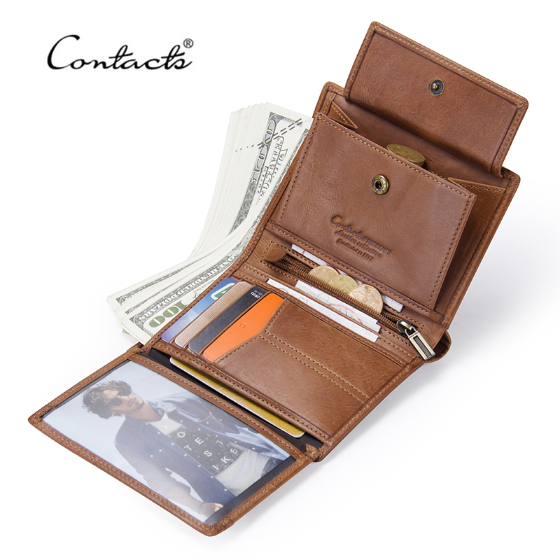 CONTACT'S 100% Genuine Leather Men Wallet Small Zipper Wallets With Card Holder High Quality Walet Trifold Male Short Coin Purse fashion genuine leather men wallets small zipper men wallet male short coin purse high quality brand casual card holder bag