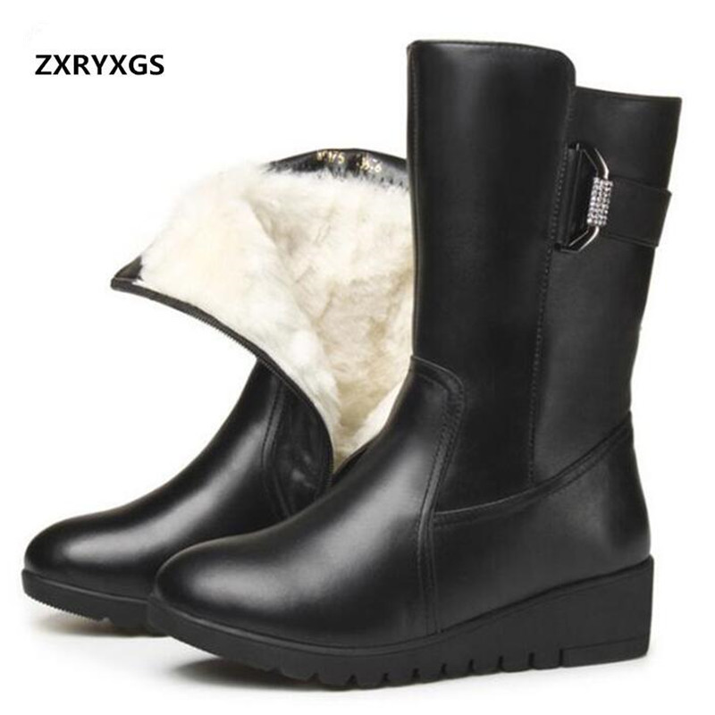 ZXRYXGS brand Boots For Women Shoes Winter Warm Fur one Wool Snow Boots cow Leather Boots Flat Wedges Women Boots plus size 43 czrbt plus size women snow boots warm wool blend ankle boots winter women shoes side zipper flat heel boots fashion short boots