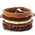 New Punk 4 Pcs/set Beads Wing Charm Handmade Woven Men Leather Bracelets Women Vintage Bangle Male Homme Men Jewelry Accessories