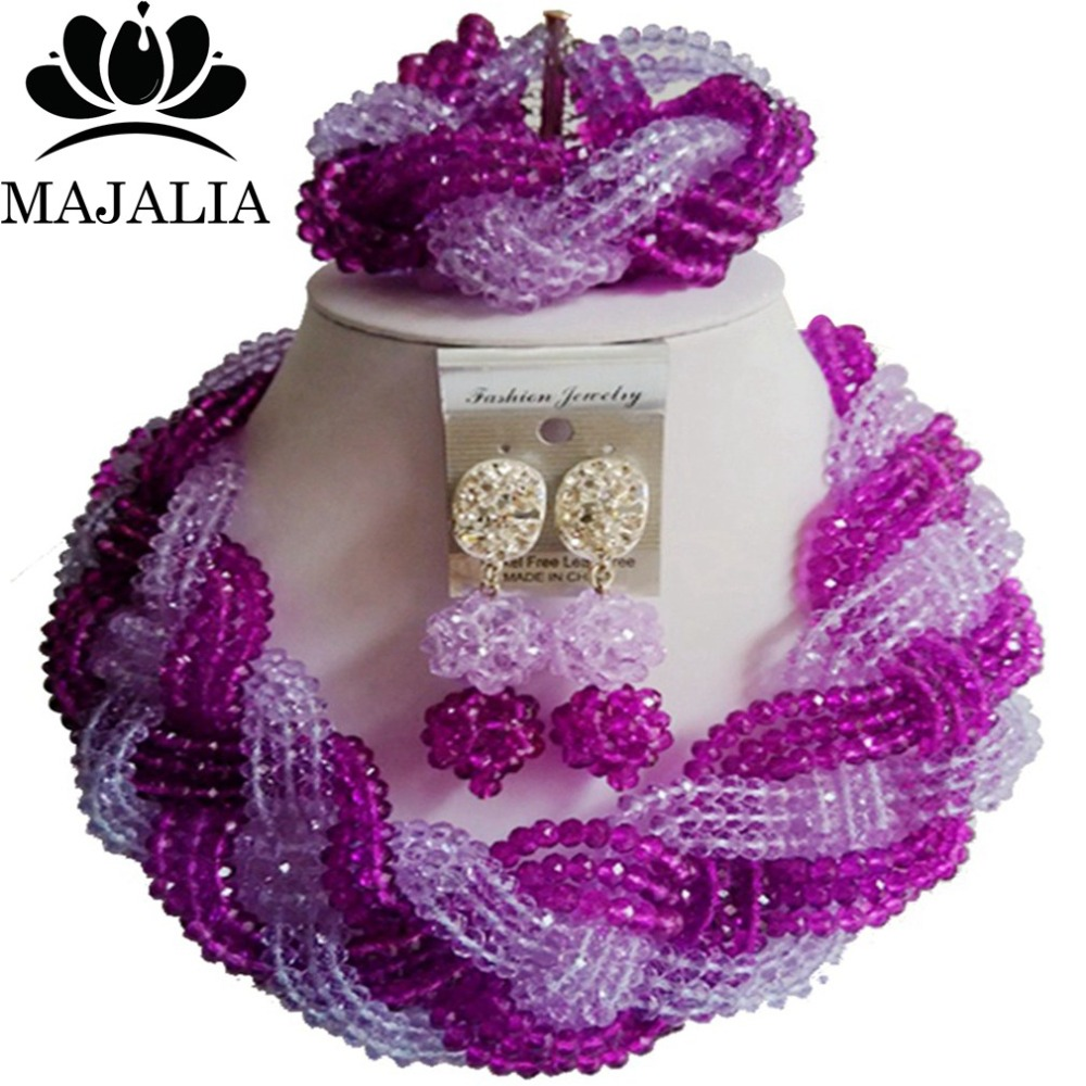 Trendy Nigeria Wedding african beads jewelry set Purple crystal necklace bracelet earrings Free shipping VV-295Trendy Nigeria Wedding african beads jewelry set Purple crystal necklace bracelet earrings Free shipping VV-295