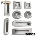 Probrico 20 PCS Recessed Kitchen Cabinet Door Handle Stainless Steel Round/Square/Oval Furniture Drawer Knob Flush Finger Pull