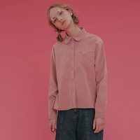 Vintage Pink Corduroy Shirt For Female Peter Pan Collar Long Sleeved Spring Women Blouses Preppy Style