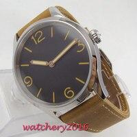 PARNIS 43mm koffie dial sapphire crystal azië hand kronkelende 6497 mannen horloge-in Mechanische Horloges van Horloges op