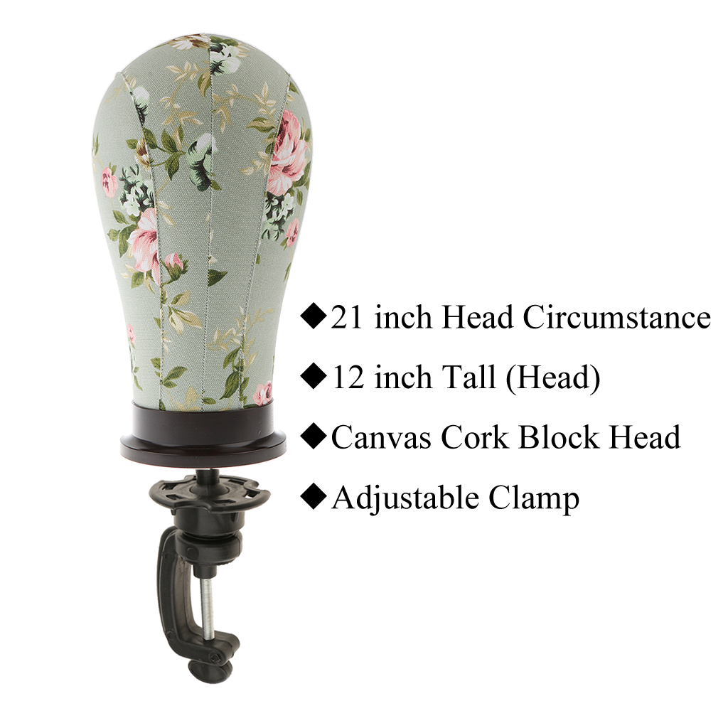 21 inches Canvas Cork Block Manikin Mannequin Head with Adjustable Clamp Toupee Wigs Making Hat Hair Wig Cap Display