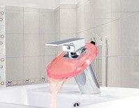 Nieuwe LED Badkamer Wastafel Wastafel Kraan Waterval Waterstroom Toilet Hot Koude Batterij Kraan JN-0117