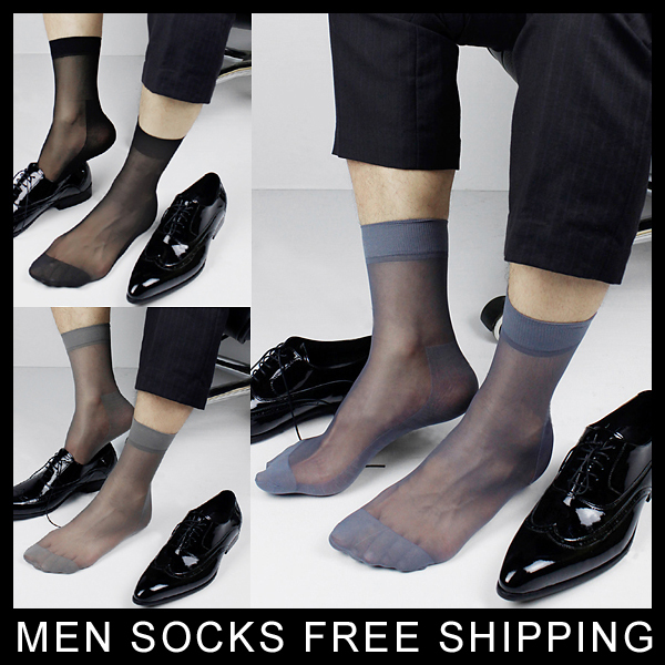 High quality New Mens Sheer Silk socks Transparent Sexy Gay Sock fetish Dress suit Formal sock Free shipping ...