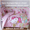 Promoción! 6 / 7 unids Hello Kitty cuna ropa de cama de bebé cuna Baby bedding set encantadora 100% de algodón, 120 * 60 / 120 * 70 cm