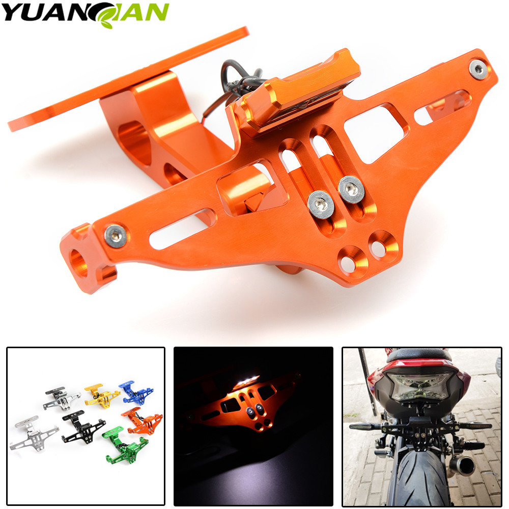 Motorcycle Adjustable Angle License Number Plate Frame Holder Bracket for KTM <font><b>Yamaha</b></font> Tmax 500 530 <font><b>XJR</b></font> 400 <font><b>1300</b></font> KTM Duke 390 125 image