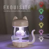 3 в 1 350 мл USB кошачий увлажнитель воздуха ультразвуковой холодный туман восхитительный мини-увлажнитель с светодиодный мини-USB вентилятор дл...