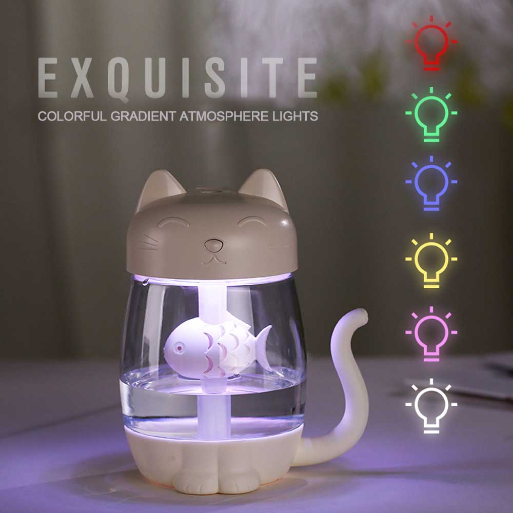 3 en 1 350 ml USB Cat aire humidificador ultrasónico Cool-niebla Adorable Mini humidificador con luz LED Mini ventilador USB para el hogar Oficina