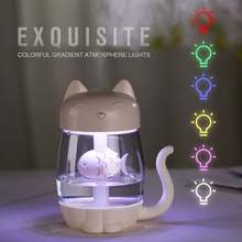3 in 1 350 ML USB Katze Luftbefeuchter Ultraschall Cool-Nebel Entzückende Mini Luftbefeuchter Mit LED Licht Mini USB Fan für Home office(China)