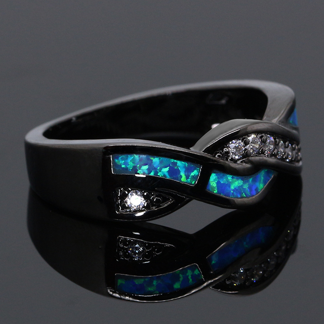 Blue Opal Wave Ring With Zircon Encrusted Stones