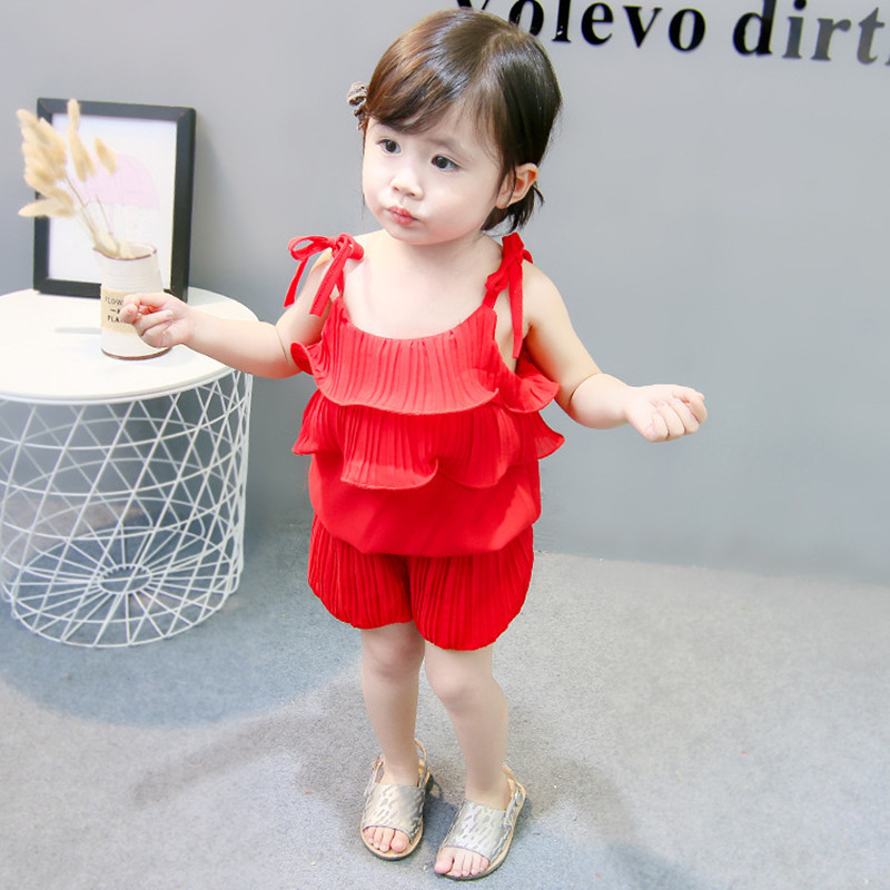 Summer Baby Girl Clothes Red/Pink Chiffon Tank Top + Shorts 2PCS Outfits Toddler Kids Clothing Set