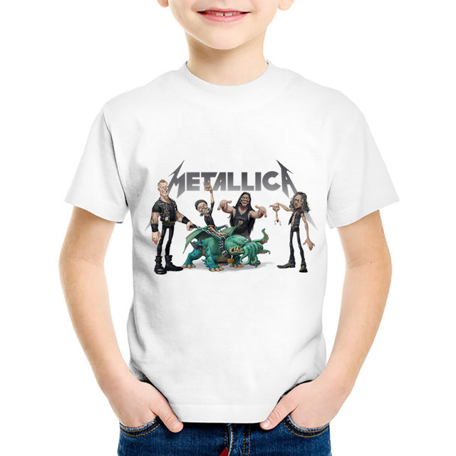 98236193b91ef Fashion Print Heavy Metal Rock Metallica Children T-shirts Kids Summer  Short Sleeve Tee Boys Girls Cool Tops Baby Clothes