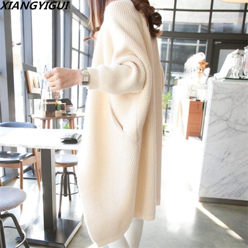 2018 Women Long Cardigans Autumn Winter Open Stitch Poncho Knitting Sweater female Oversized Shawl Cape Jacket Coat trench coat
