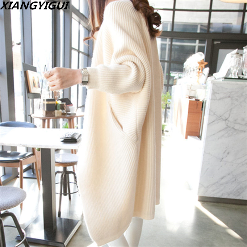 2018 font b Women b font Long Cardigans Autumn Winter Open Stitch Poncho Knitting Sweater female