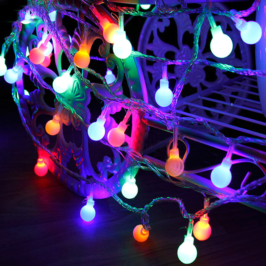 3M 4M 5M 10M Round Ball LED String Indoor/Outdoor/Holiday/Garland/Party/Xmas Decoration Multicolor LED Lights Battery Box/USB