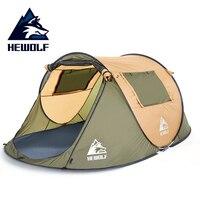 Hewolf jogando pop up Tendas Ao Ar Livre Automático 2-3 4-5 pessoa À Prova D' Água Para Caminhadas Camping Ultralight Tenda Portátil 2 portão Teepee