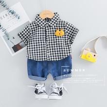 2019 Summer Baby Boys  Clothes Suits Toddler Infant Clothing Sets Plaid Shirt Shorts Kids Children Casual Suit цена и фото