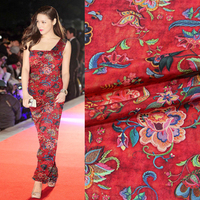 New 138cm wide 12mm 100% silk double crepe fabric silk wide width inkjet double skirt skirt blouse silk fabric