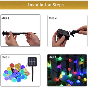 Image 5 - 30 LED Solar String Lights Outdoor Crystal Ball Lighting for Christmas Trees, Garden, Patio, Wedding and Holiday Decorations