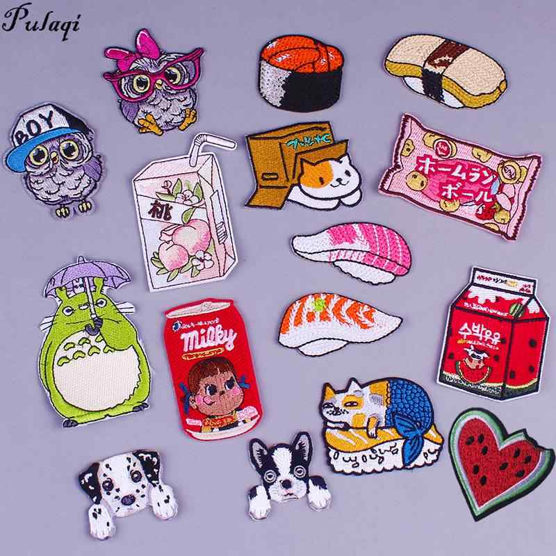 Pulaqi High Quality cartoon embroidery patches stripes on clothes t-shirt sticker cute patches appliqués on clothes wholesale H