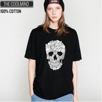COOLMIND QI0229B 100% cotton skull print women tshirt casual short sleeve women t shirt female loose summer t-shirt tee shirts 1