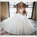Elegant A-line Lace Wedding Dress 2017 Chapel Train Satin Bride Dresses Vintage Vestido De Noiva Renda MTOB1722