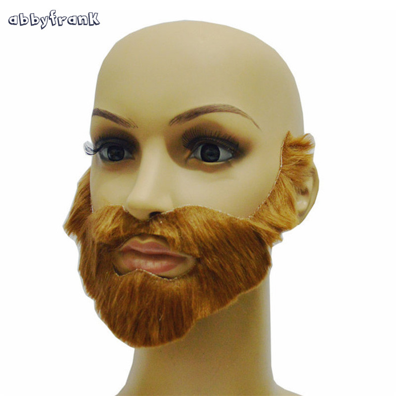 Abbyfrank Big Fake Beards Gray Brown Black Moustache False Beards Halloween Festive Party Supplies Funny Toy Novelty Gadget