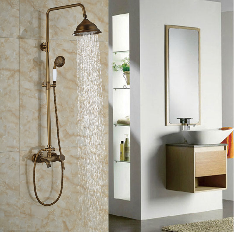 ᓂExposed Single Lever With Hand Shower Antique Brass Shower Set ...
