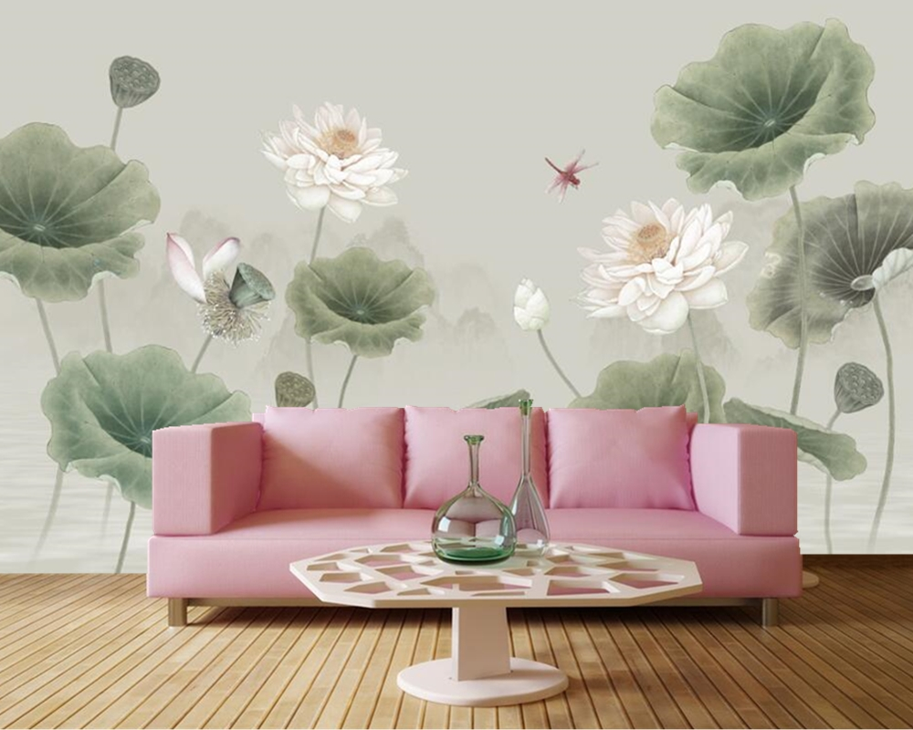 Chinese Style Hand Painted Lotus Wallpaperliving Room Tv Background