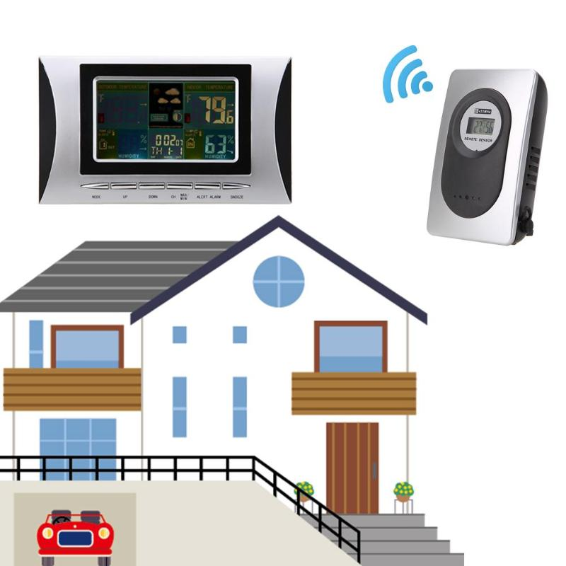 Wireless Weather Station With LCD Colorful Display Indoor Outdoor Temperature And Humidity Barometer Digital Alarm Clock wireless weather station alarm clock digital cobblestone shaped led indoor outdoor temperature humidity meter with remote sensor