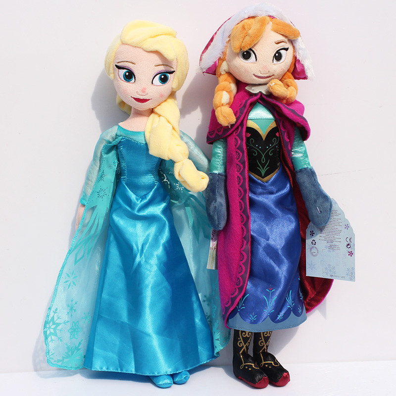 2pcs/lot 50cm Snow Queen Princess Elsa Anna Plush Doll Toys Cute Elsa Plush Anna Plush Stuffed Dolls Toy Gifts for Girls Kids