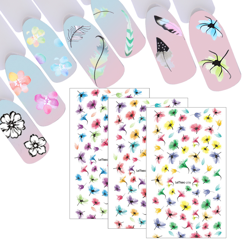 LEMOOC 9Pcs/set Water Decal Feather Flower Designs Nail Transfer Sticker Nail Art Decoration for Manicure Watermark