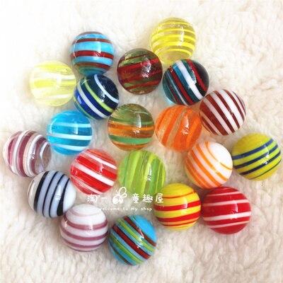 Free Shipping 20pcs/lot Manual Ribbon 16mm Glass Ball Marbles Aquarium Decoration Glass Ball Marbles