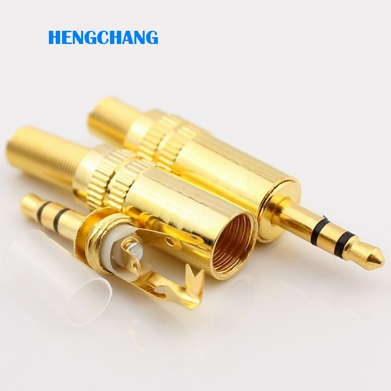 Free shipping gold plated 3.5mm plug RCA Audio Connector RCA audio plug 3.5mm jack Stereo Headset Dual Track Headphone 10pcs/lot wsfs hot 10 pcs black plastic housing 3 5mm audio jack plug headphone connector