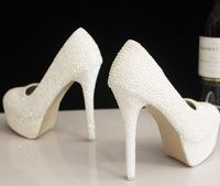 Plus Sizes 40 41 High Heels Platforms White Shoes For Woman TG535full Hand Made White Pearls