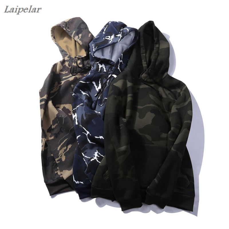 USA SIZE Camouflage Sweatshirt Military Style Hip Hop Hoodie Men Casual Long-Sleeved Street Sportswear