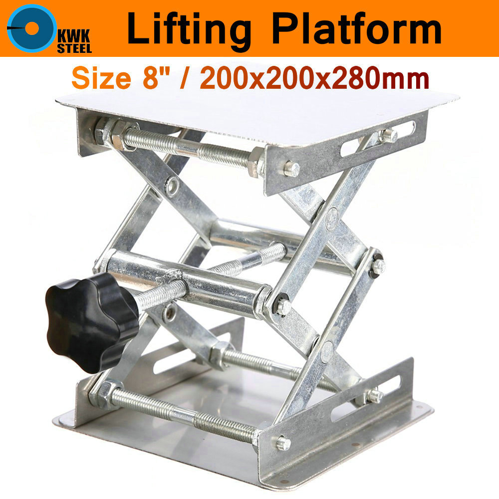 Lifting Platform Hand Adjustable Laboratory Lift Stainless Steel Lab Plat Stand Table Scissor Lifter Rack Mini Elevator 8 200mm lab jack laboratory support jacks 200x200x280mm stainess steel painting lifting table raising platform 8 inch export to europe