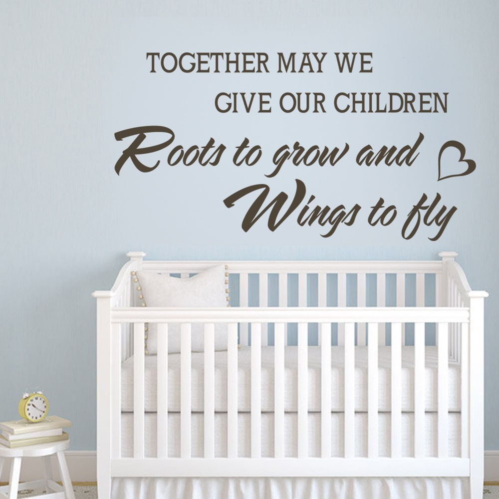 Chidren Wall Quotes - May We Give Our Children Roots to Grow and Wings to Fly - Kids Wall Decal Vinyl Sayings 34 x 18 S