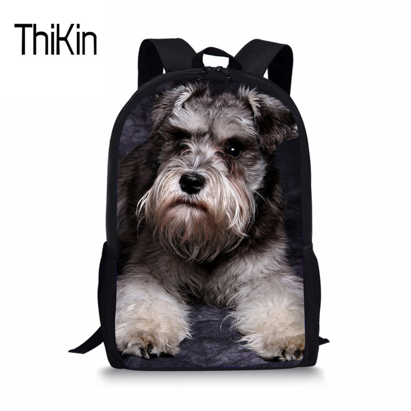 THIKIN Kids Schoolbag Cute Dog Schnauzer School Bag For Children Primary Students Shoulder Bags High Quality Satchel Mochila New