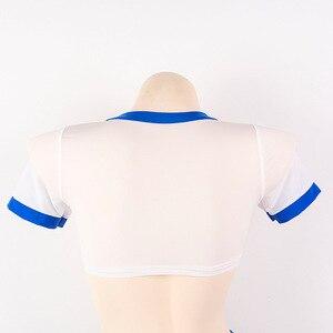 Image 5 - Estilo japonês terno de ginástica sexy lingerie feminina 2 pçs conjunto transparente camisa curta & crotchless triângulo shorts bonito exótico vestuário